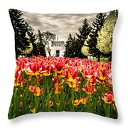 Tulips And Building Throw Pillow