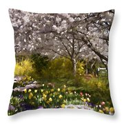 Tulips And Other Spring Flowers At Dallas Arboretum Throw Pillow