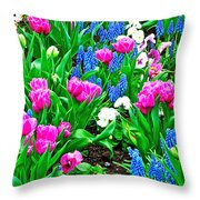 Tulips And Pansies And Grape Hyacinth By Lutheran Cathedral Of Helsinki-finland Throw Pillow