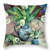Tulips And Snowdrops Throw Pillow by Julia Rowntree