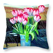 Tulips And Valentines Throw Pillow