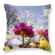Tulips At Dallas Arboretum V46 Throw Pillow