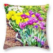 Tulips At Dallas Arboretum V65 Throw Pillow