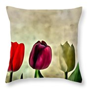 Tulips Color Throw Pillow