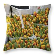 Tulips For Sale In Market, Close Up Throw Pillow