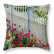 Tulips Garden Along White Picket Fence Throw Pillow