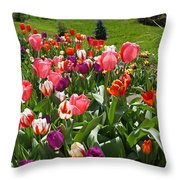 Tulips Garden Art Prints Colorful Spring Floral Throw Pillow