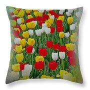 Tulips In A Field Throw Pillow