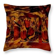 Tulips In Acryl Collage Throw Pillow