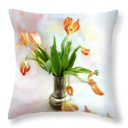 Tulips In An Old Silver Pitcher Throw Pillow