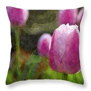 Tulips In Digital Watercolor Throw Pillow