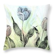 Tulips In Ink Throw Pillow