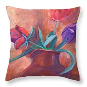 Tulips In Pitcher Throw Pillow