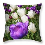 Tulips In Purple And White Throw Pillow
