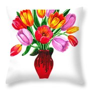 Tulips In The Vase Throw Pillow