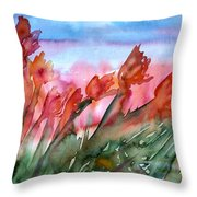 Tulips In The Wind Throw Pillow