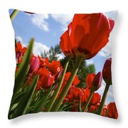 Tulips Leaning Tall Throw Pillow
