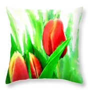 Tulips Throw Pillow by Moon Stumpp