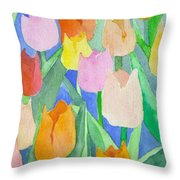 Tulips Multicolor Throw Pillow