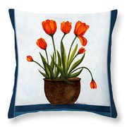 Tulips On A Blue Buffet With Borders Throw Pillow by Barbara Griffin