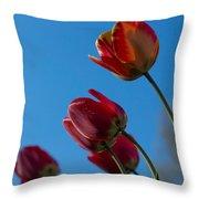 Tulips On Blue Throw Pillow