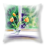Tulips On The Window Throw Pillow