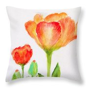 Tulips Orange And Red Throw Pillow by Ashleigh Dyan Bayer