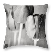 Tulips Still Life In Black And White Throw Pillow