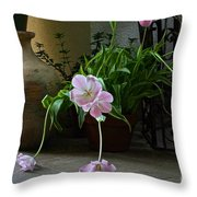 Tulips With Earthenware Jar And Wrought Iron Throw Pillow