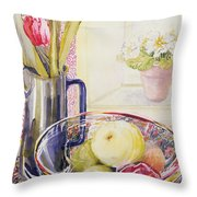 Tulips With Fruit In A Glass Bowl  Throw Pillow by Joan Thewsey