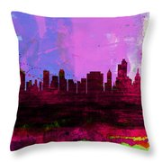 Tulsa Watercolor Skyline 2 Throw Pillow