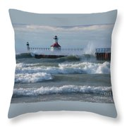 Tumultuous Lake Throw Pillow