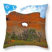 Tunnel Arch On Devils Garden Trail In Arches National Park-utah In Arches National Park-utah Throw Pillow