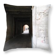 Tunnel In Venice Throw Pillow