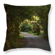 Tunnel Of Trees And Light Throw Pillow