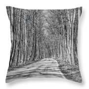Tunnel Of Trees Black And White Throw Pillow