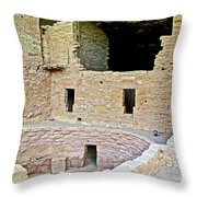 Tunnel Opening In Kiva Of Spruce Tree House On Chapin Mesa In Mesa Verde National Park-colorado  Throw Pillow