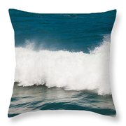 Turbulent Water Of Breaking Ocean Wave And Spray Throw Pillow