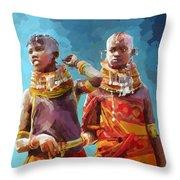 Young Turkana Girls Throw Pillow