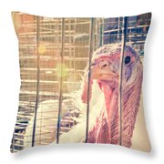 Turkey In The Cage Throw Pillow
