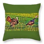 Turkey Pair Throw Pillow