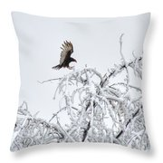 Turkey Vulture In The Snow Throw Pillow