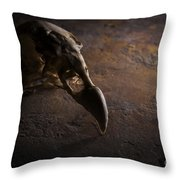 Turkey Vulture Skull On Slate Throw Pillow