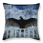 Turkey Vulture Sunning Throw Pillow