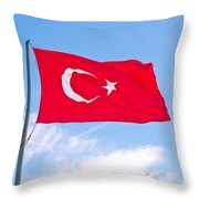 Turkish Flag Flapping In The Wind Throw Pillow