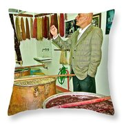 Turkish Rug Salesman Explains About Natural Dye Vats In Weaving Factory In Avanos-turkey  Throw Pillow