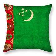 Turkmenistan Flag Vintage Distressed Finish Throw Pillow