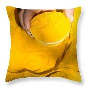 Turmeric Powder At Local Market - Myanmar Throw Pillow