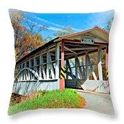 Turner's Covered Bridge Vignette Throw Pillow