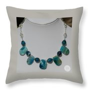 Turquoise And Sapphire Agate Necklace 3674 Throw Pillow